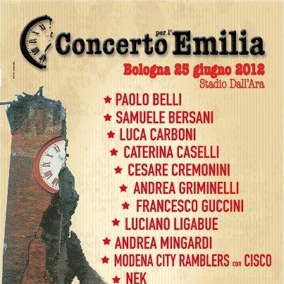 Concerto per l'Emilia a sostegno delle popolazioni colpite dal terremoto