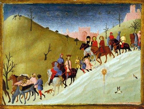 Il viaggio dei re magi del Sassetta