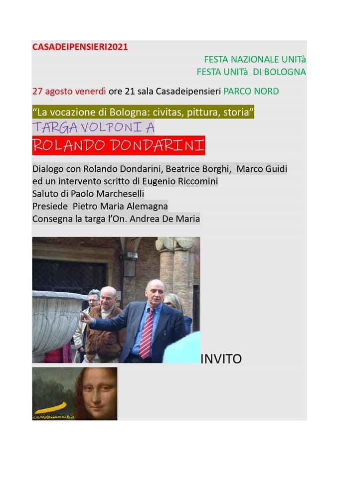 Targa Paolo Volponi al prof. Rolando Dondarini